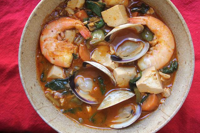 Spicy Korean-Style Seafood and Tofu Stew with Spinach (SoonDuBu Jigae)