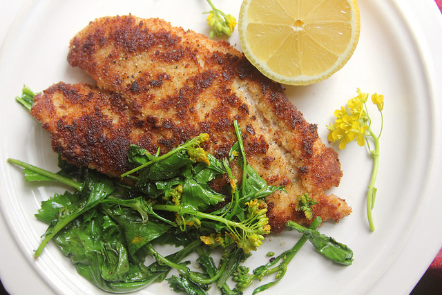 Breaded Fish Milanese with Flowering Kale