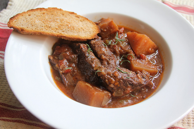 Braised Short Ribs with Red Wine, Tomatoes and Rutabaga
