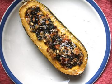 Stuffed Delicata Squash with Kale and Pinenuts