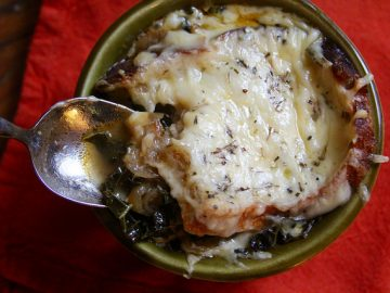 Caramelized Onion and Kale Soup, French Onion-Style