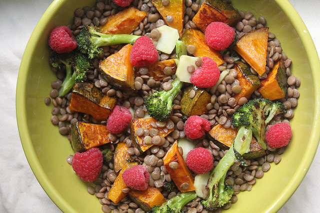 Roasted Squash, Broccoli & Lentil Salad with Raspberries