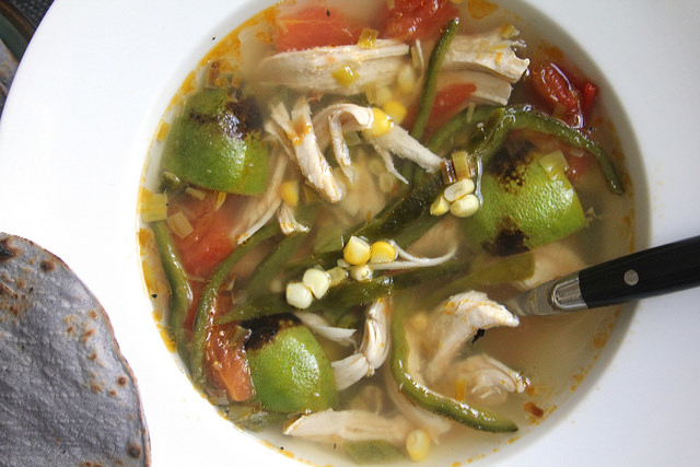 Chicken and Lime Soup with Corn and Poblano Peppers