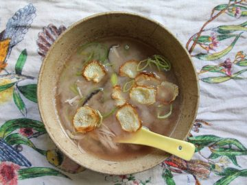 Miso Chicken Soup with Leeks, Cabbage, Shiitake Mushrooms and Radishes, with Radish Chips