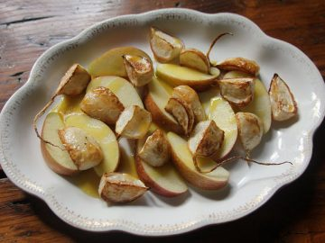 Apple and Roasted Hakurei Turnip Salad with Hot Honey-Mustard Dressing