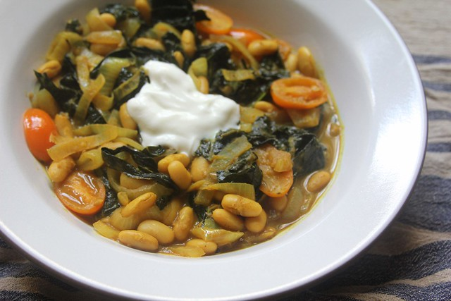 Curried White Beans and Kale with Cherry Tomatoes