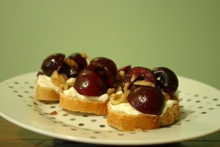 cherry walnut bruschetta