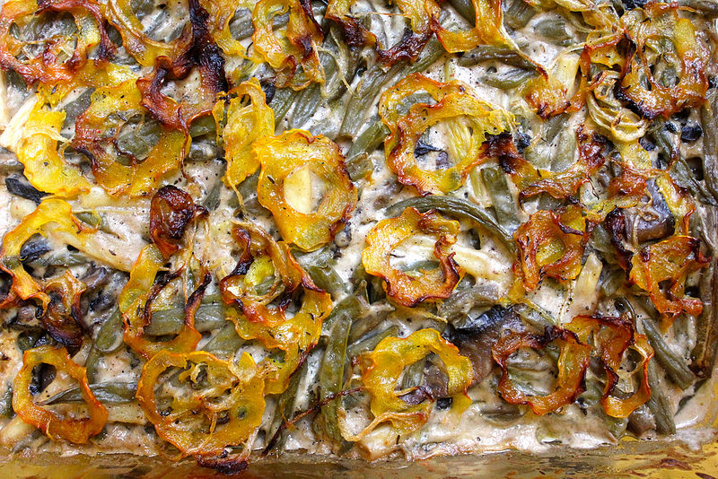 Green Bean Casserole with Shaved Delicata Squash and Onion Crust