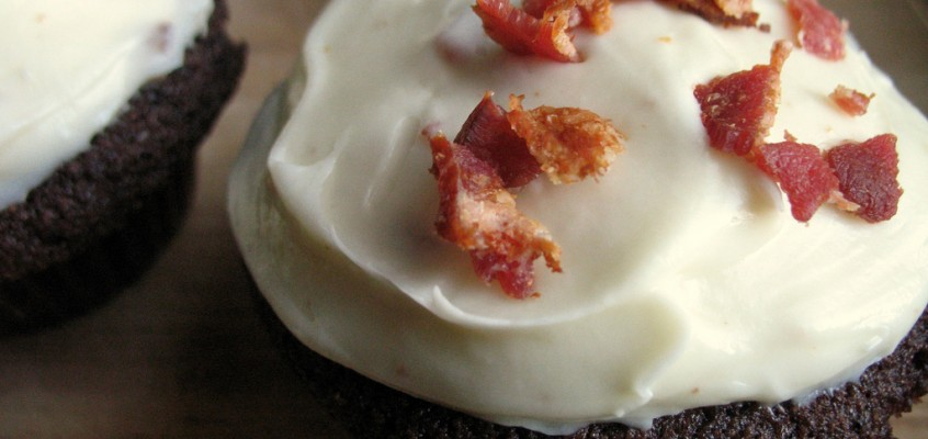 Chocolate Cupcakes with Bacon Cream Cheese Frosting