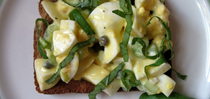 Lemony Egg Salad with Basil and Capers