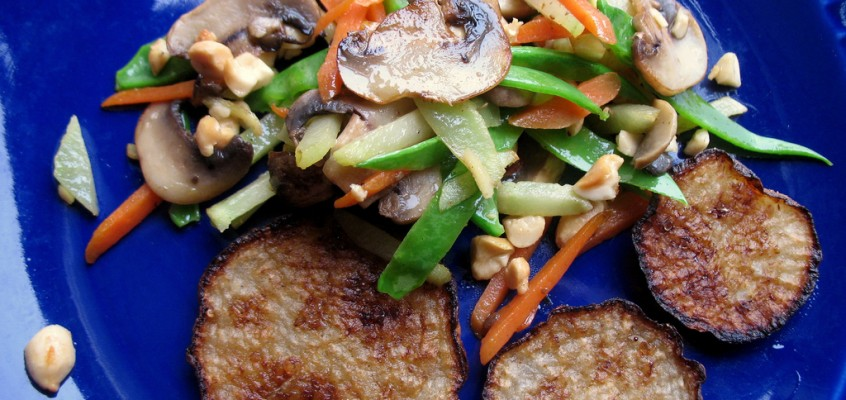 Seared Turnips with Leftover Vegetable Stir-Fry