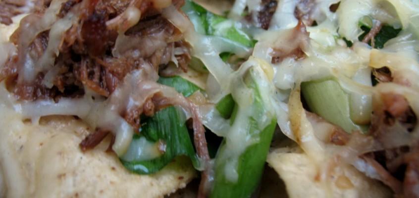 Spring Nachos with Ramps, Asparagus, Smoked Cheddar, Roast Pork and Spicy Radish Salsa
