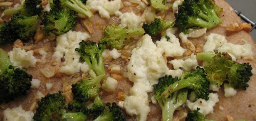 Broccoli, Ricotta and Golden Garlic Pizza