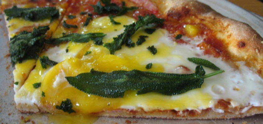 Pancetta, Egg and Fried Sage Pizza (at Pizza a Casa with Mark Bello)