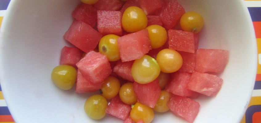 Ground Cherry and Watermelon Salad