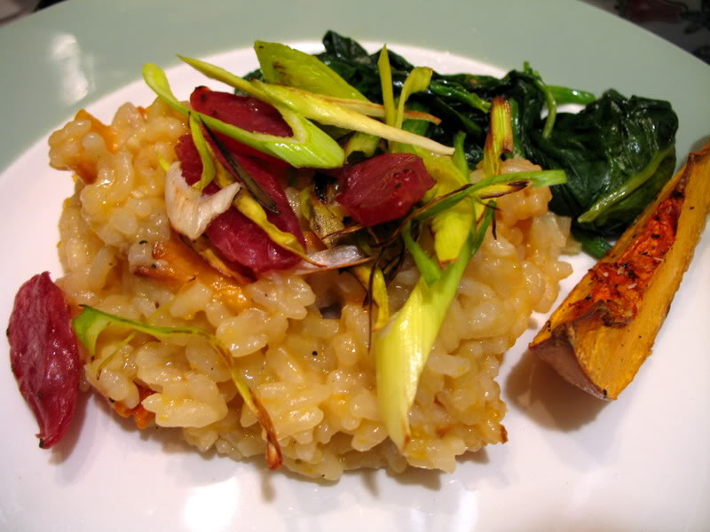 Roasted Butternut Squash Risotto with Wilted Spinach, Leeks and Chinese Sausage