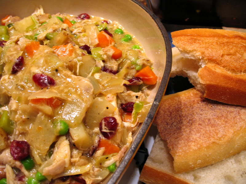 Cranberry Curry Chicken Pie with Leftover French Bread Crust