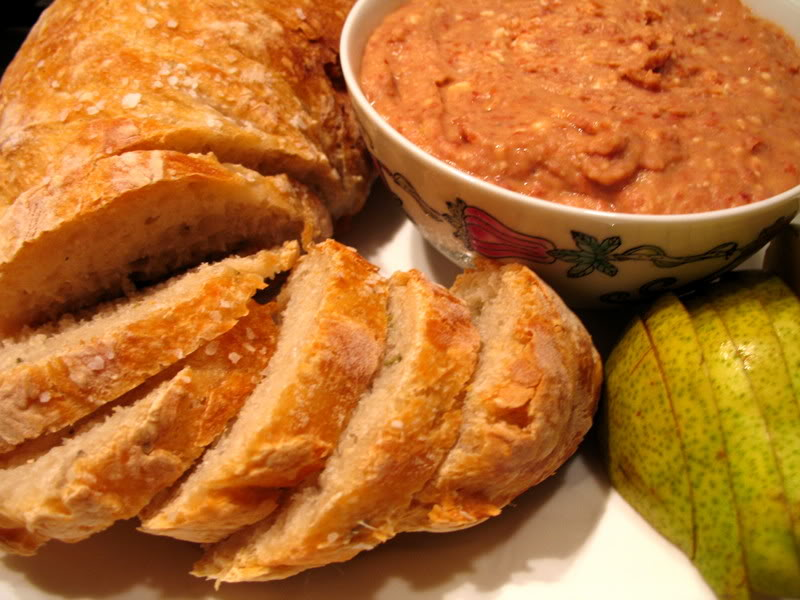 Red Bean Hummus with No-Knead Bread