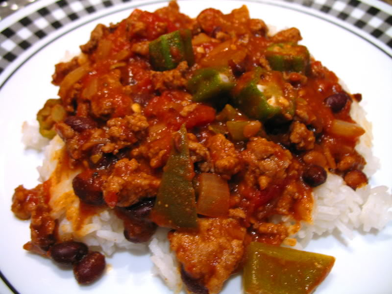 Turkey Black Bean Chili with Okra
