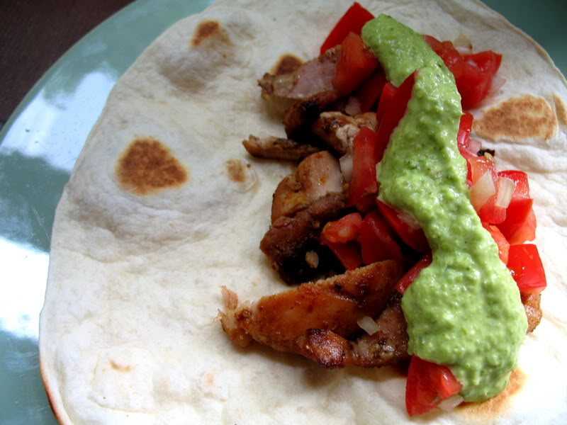 Chicken Fajitas with Jalapeno-Mayonnaise Sauce & Pico de Gallo