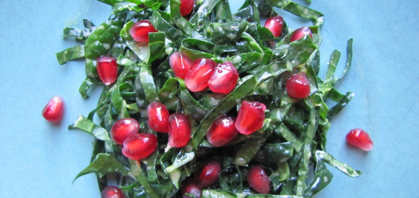 Tuscan Kale Salad with Honey Mustard Vinaigrette and Pomegranate