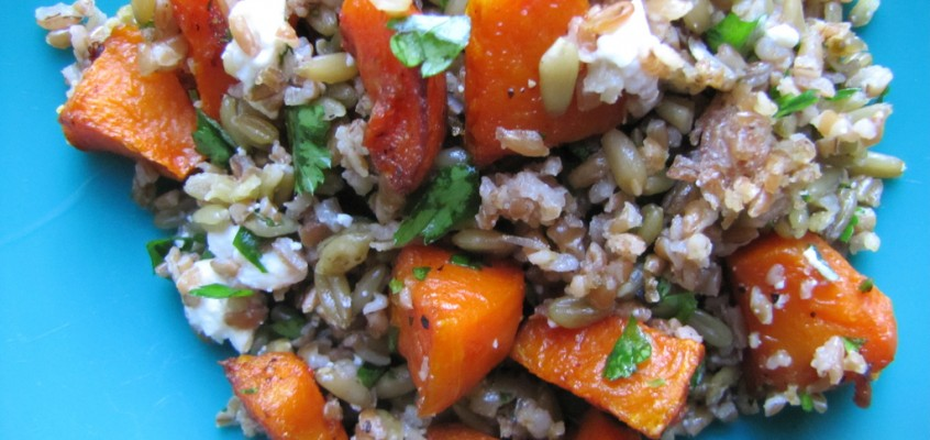 Bulgur and Freekeh Pilaf with Roasted Butternut Squash