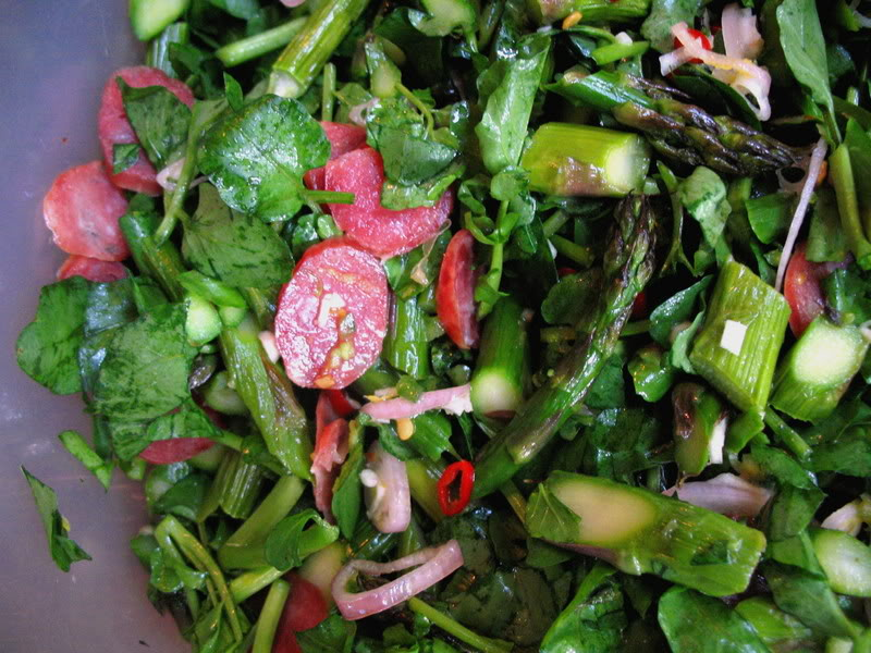 Roasted Asparagus Salad with Chinese Sausage and Watercress