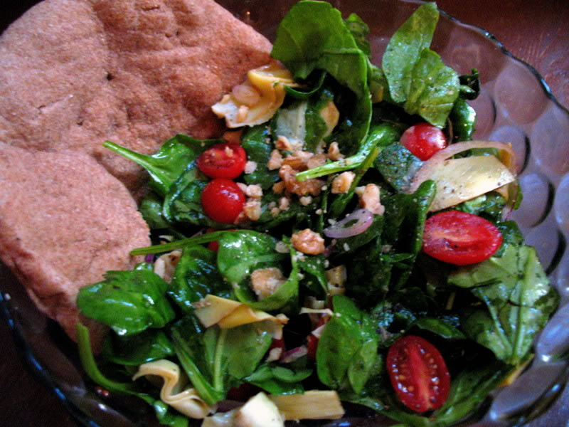 Enjoyably Easy Spinach Salad with Artichoke Hearts and Walnuts