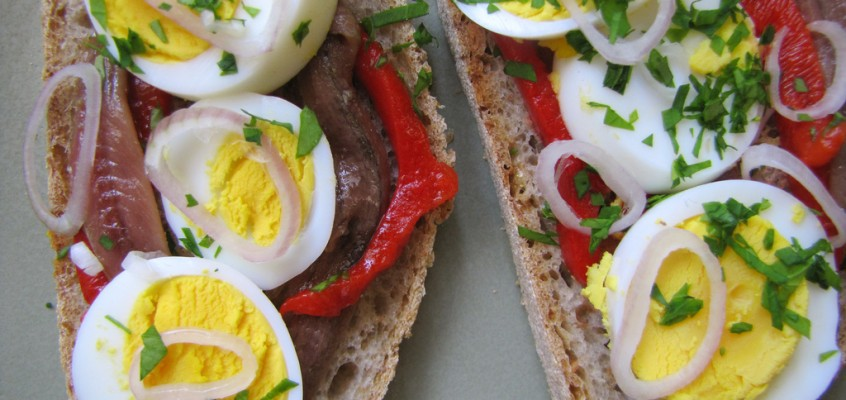 Pickled Pepper, Anchovy & Egg Sandwich on Rye