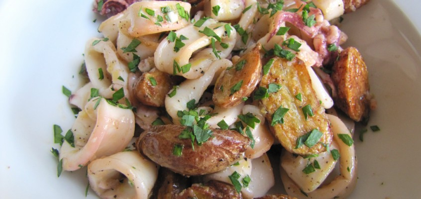 Squid Salad with Roasted Potatoes