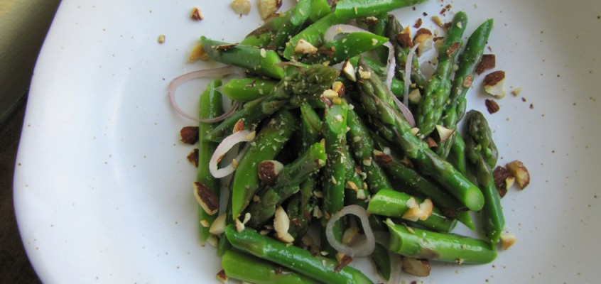Blanched Asparagus with Almonds, Shallots & Lemon