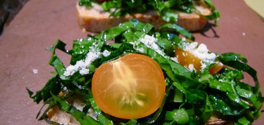 Shredded Kale & Sungold Tomato Crostini