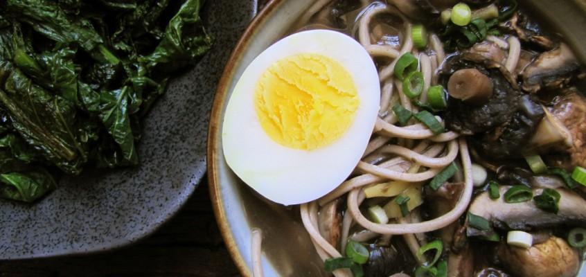 Mushroom Soba & Miso-Braised Mustard Greens
