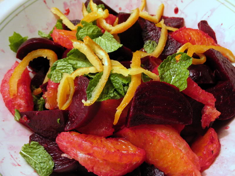Roasted Beet and Orange Salad with Candied Orange Peel and Mint