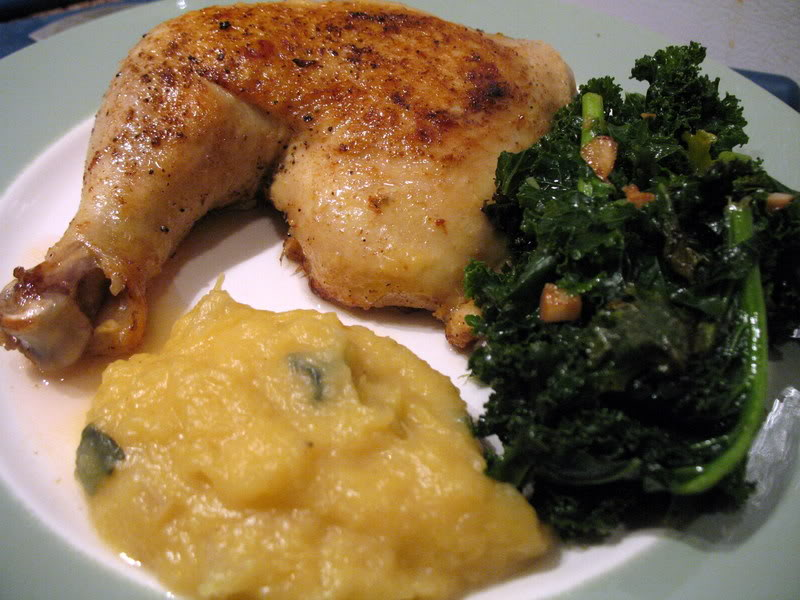 Chicken, Kale & Pureed Spaghetti Squash with Sage