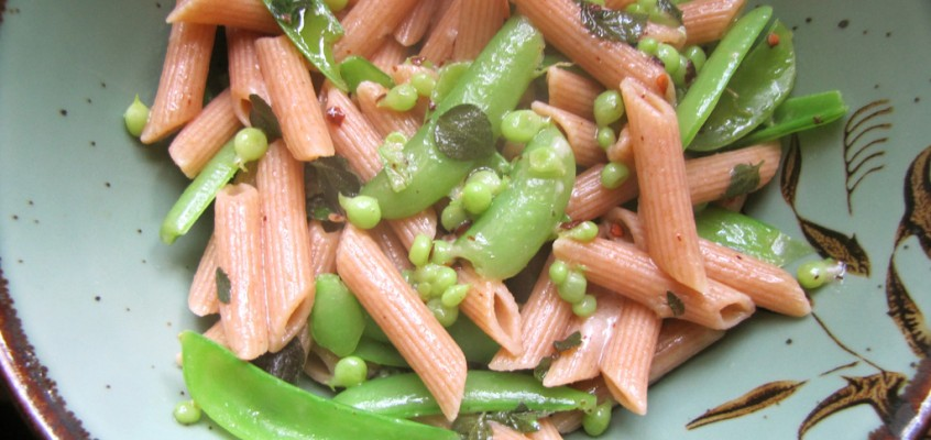 Sugarsnap Pea Penne with Shiso