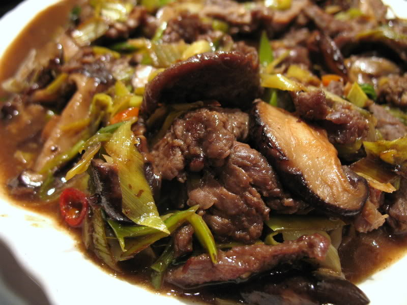 Beef with Leeks and Shiitake Mushrooms