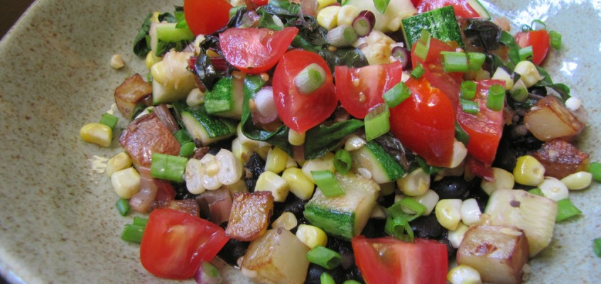 Black Beans with Summer Vegetable Sauté
