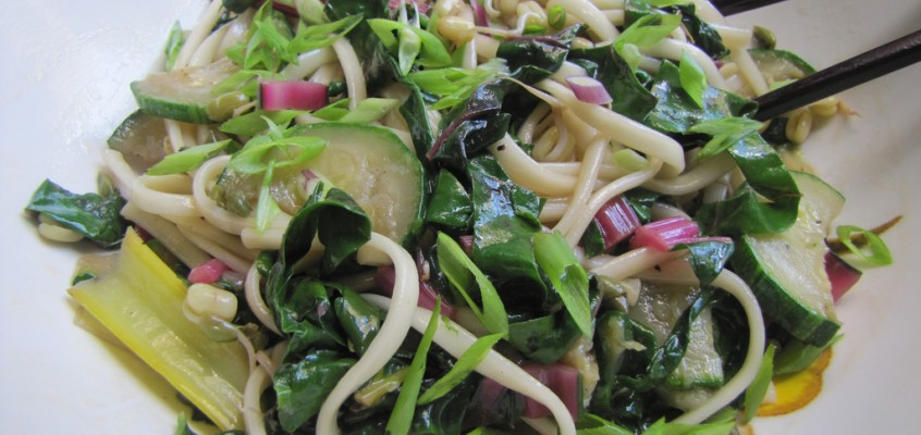 Chilled Sesame Noodles With Swiss Chard, Zucchini and Bean Sprouts
