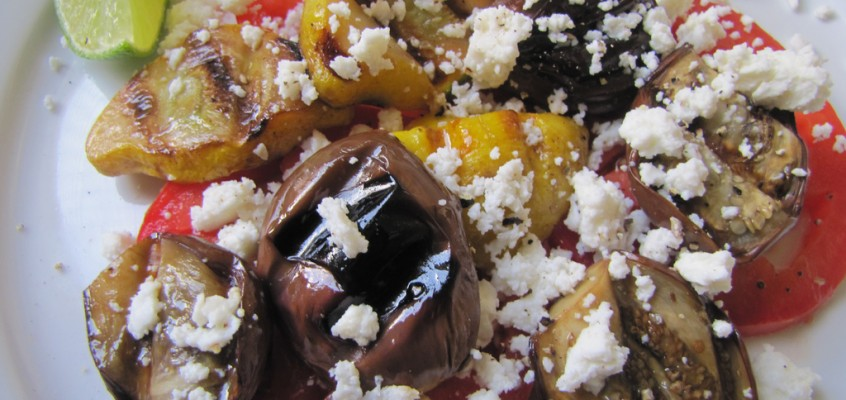 Grilled Baby Eggplant with Queso Fresco & Lime