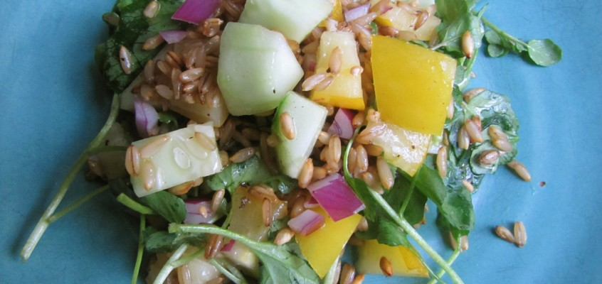 Watercress Wheatberry Salad with Cucumber & Yellow Tomato