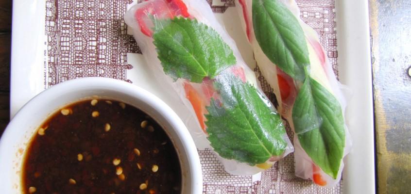 Fresh Veggie Summer Rolls with Shiso and Thai Basil