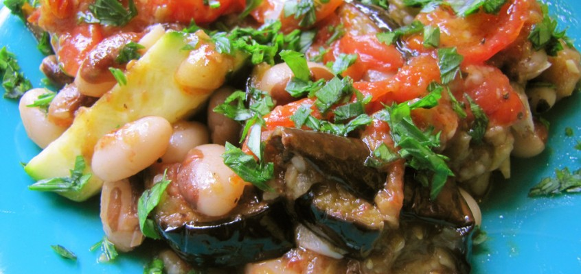 Heirloom Beans with Roasted Eggplant, Tomato & Zucchini