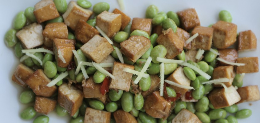 Tofu and Edamame With Ginger and Chilies