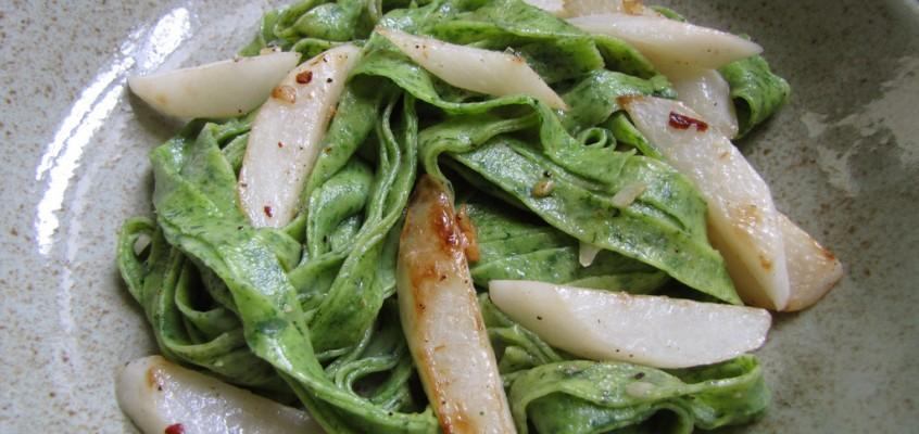 Daikon Radish Greens Pasta with Seared Daikon, Chilies, Garlic and Lemon