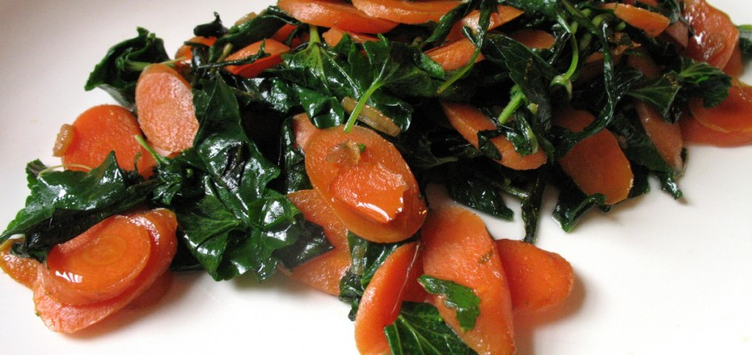 Sauteed Carrots, Dandelion Leaves and Violet Leaves with Argan Oil