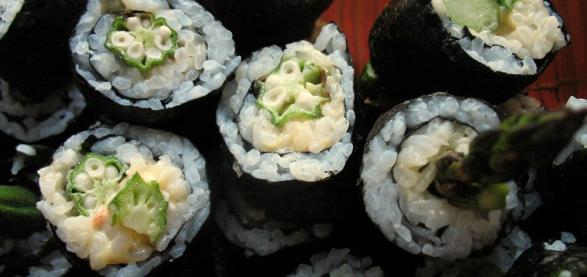 Spicy Okra and Asparagus Maki Rolls