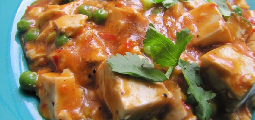 Tofu With Chili-Bean Sauce and Peas