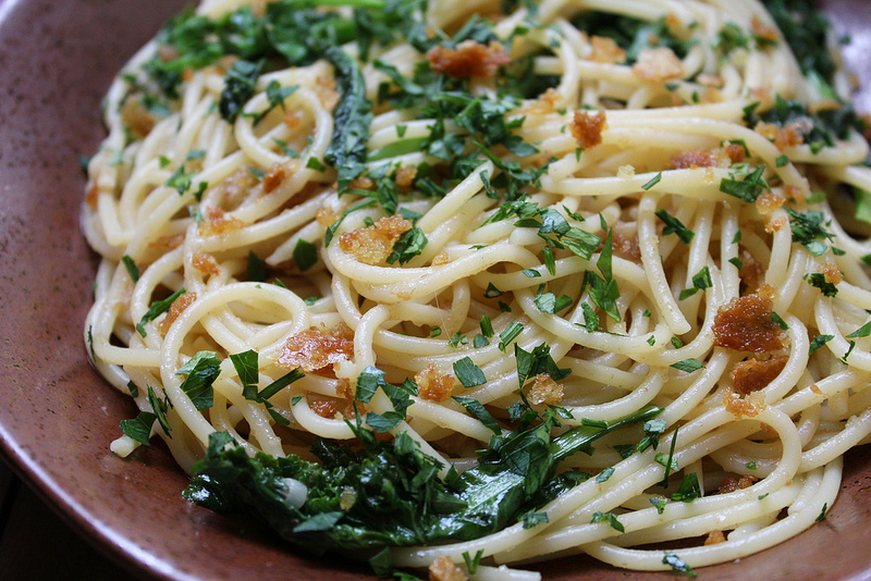 Spaghetti with Anchovies, Kale & Breadcrumbs