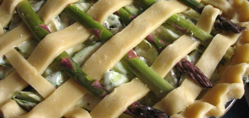 Savory Asparagus Pie with Goat Cheese and Creme Fraiche
